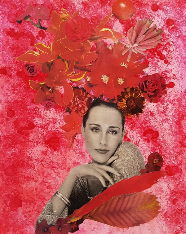 Woman in red collage